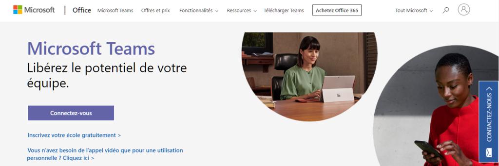 Page d'accueil de Microsoft teams