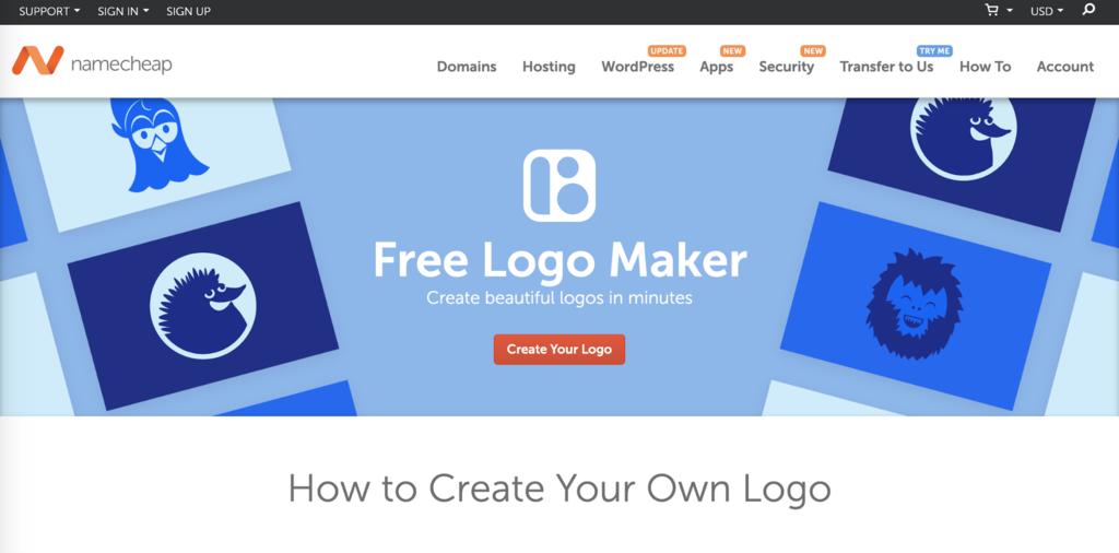 La page d'accueil du générateur de logo gratuit de Namecheap