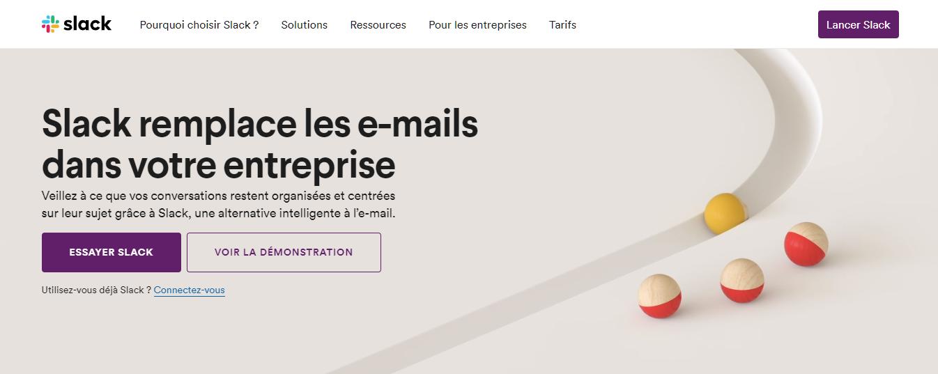 Page d'accueil du site de Slack