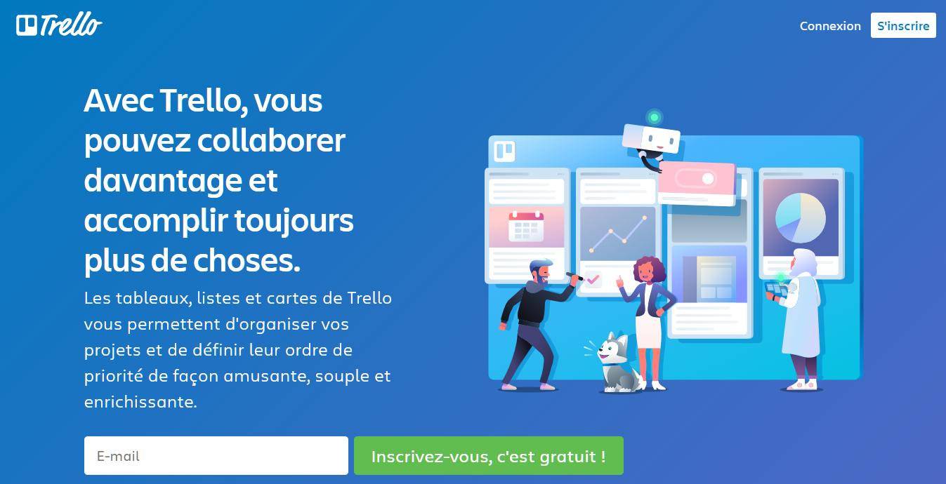 Page d'accueil de Trello