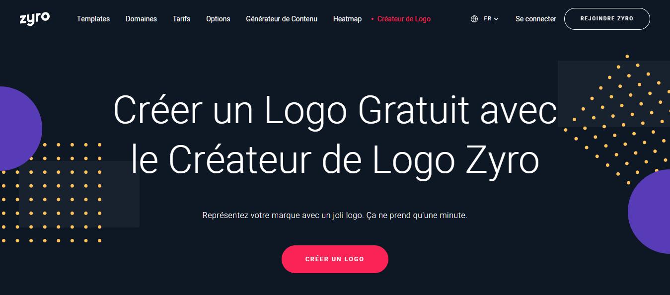 Page d'accueil du générateur de logo Zyro