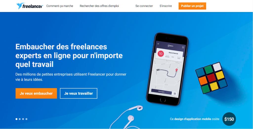 La page d'accueil de Freelancer pour trouver le meilleur emploi à domicile