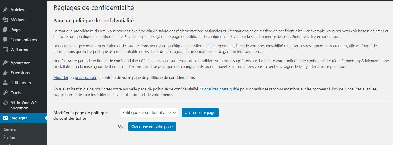 Paramètres de la politique de confidentialité dans la zone d'administration de WordPress