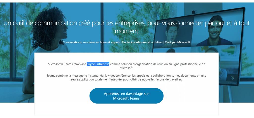 Page d'accueil de Skype Entreprises