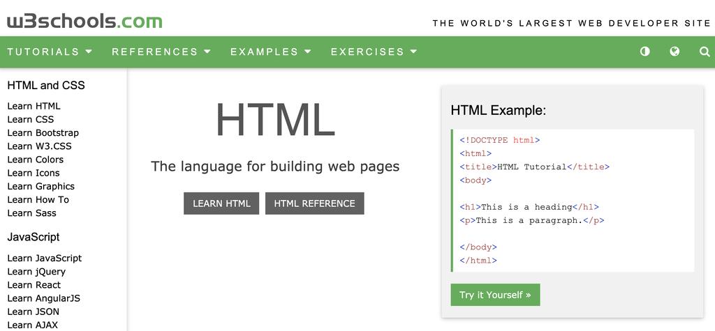 Page d'accueil du W3Schools pour HTML et CSS