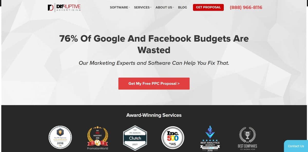 La page d'accueil de l'entreprise de marketing des réseaux sociaux Disruptive