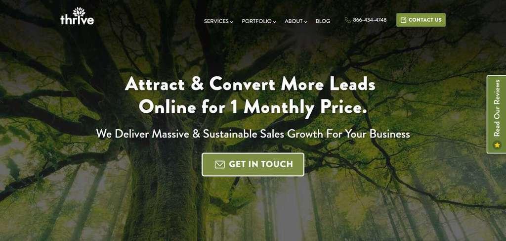 La page d'accueil de ThriveAgency