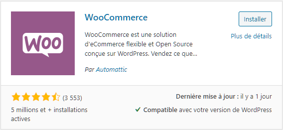 Extension WooCommerce pour wordpress