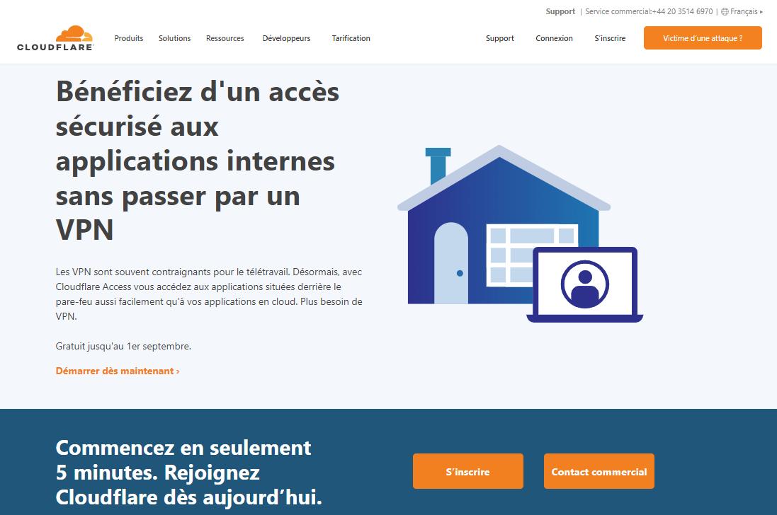 Page d'accueil de Cloudflare