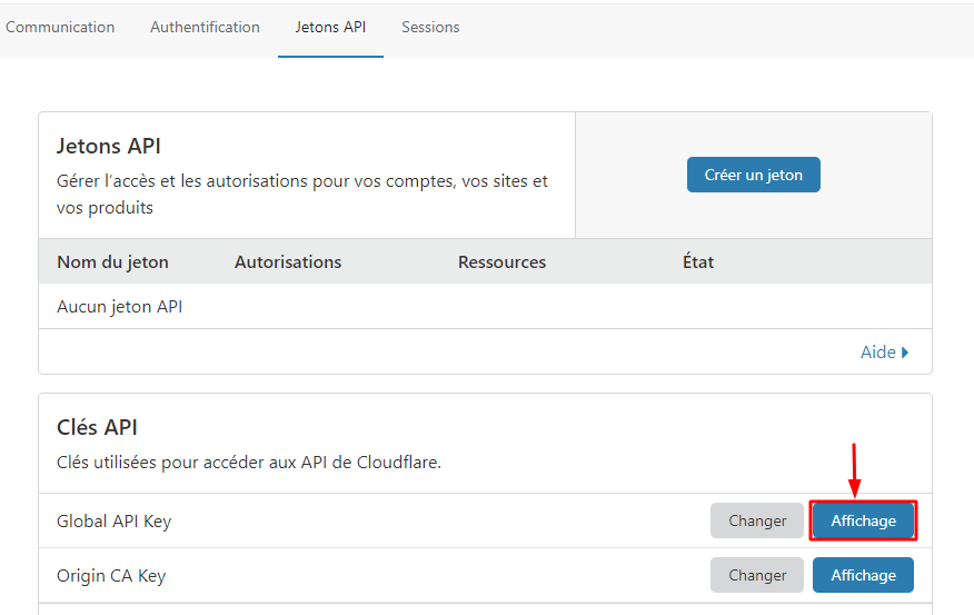 Obtention de la clé API de Cloudflare
