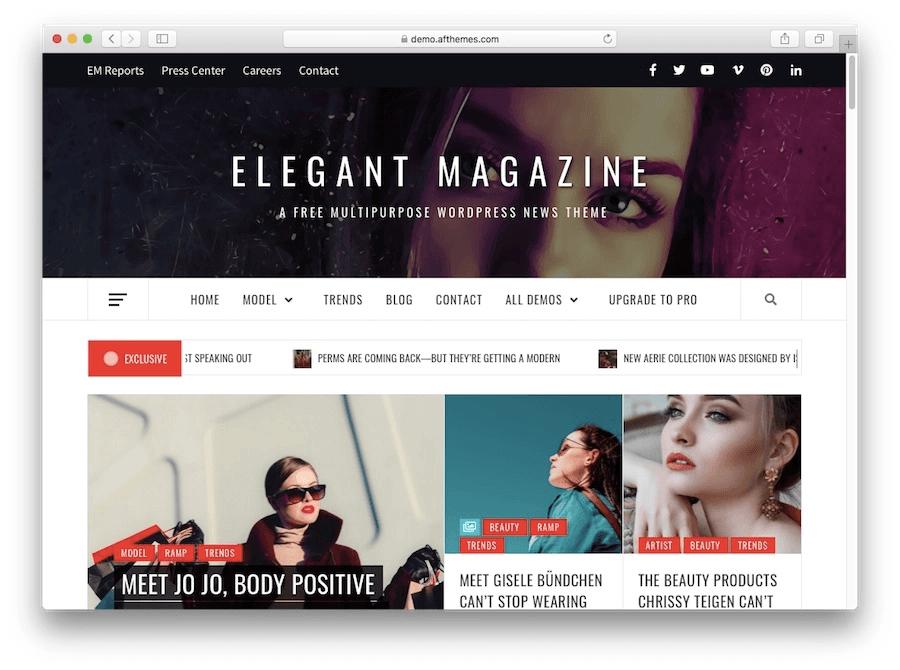 Thème du blog WordPress Elegant Magazine
