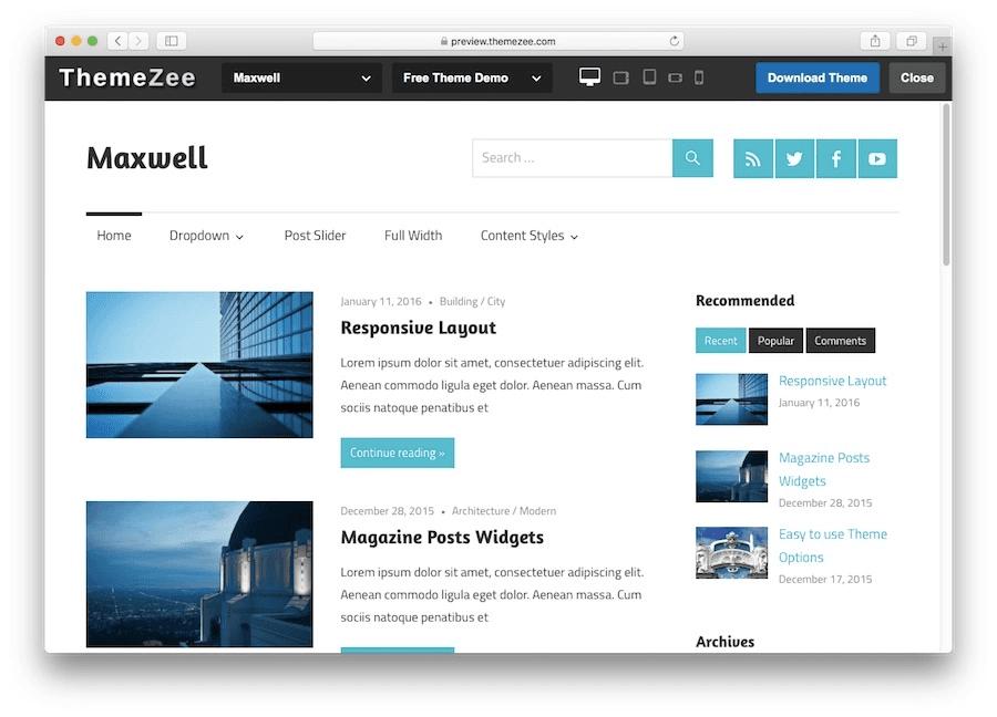 Thème du blog WordPress Maxwell