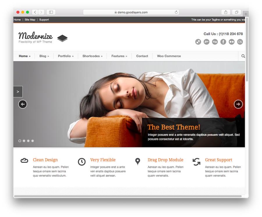 Thème du blog WordPress Modernize