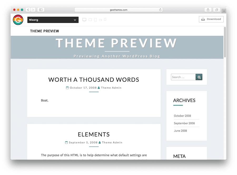Thème du blog WordPress Nisarg