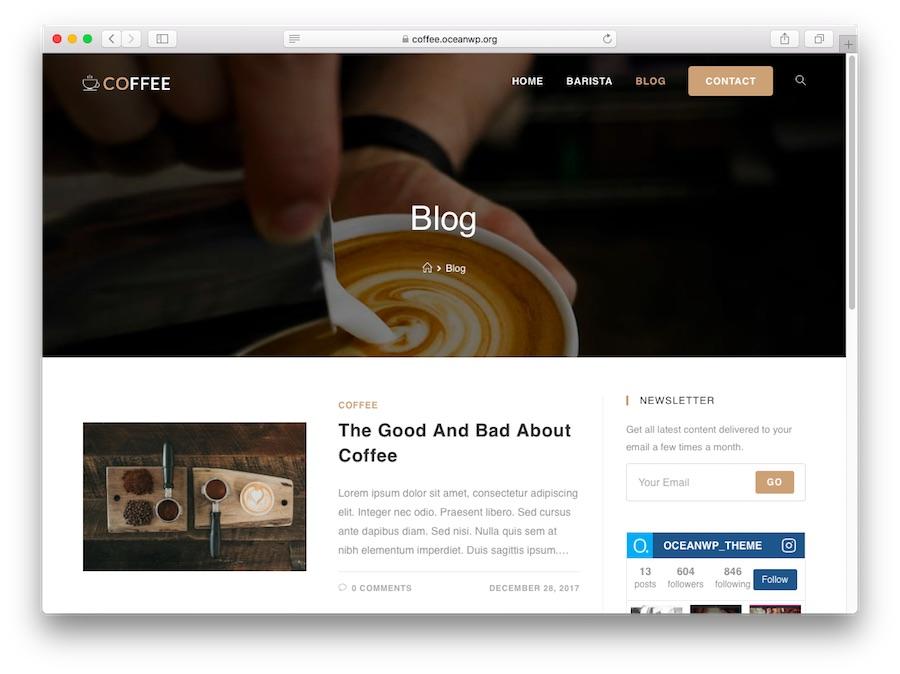 Demo du thème OceanWp WordPress pour les blogs