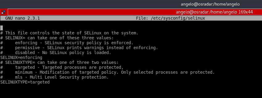 Fichier de configuration Selinux ouvert sur nano in centos 7