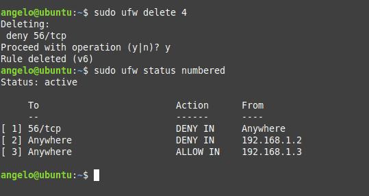 Liste des règles UFW affichée dans le terminal sous Ubuntu