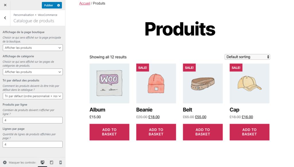Modification du catalogue de produits pour la boutique en ligne