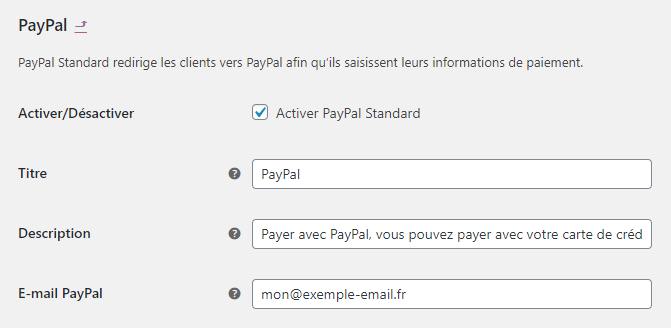 Configuration de PayPal sur WooCommerce
