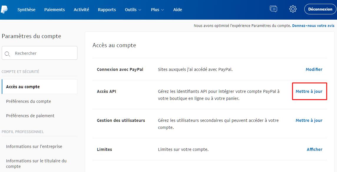 Mettre à jour l'option Accès à API sur PayPal.