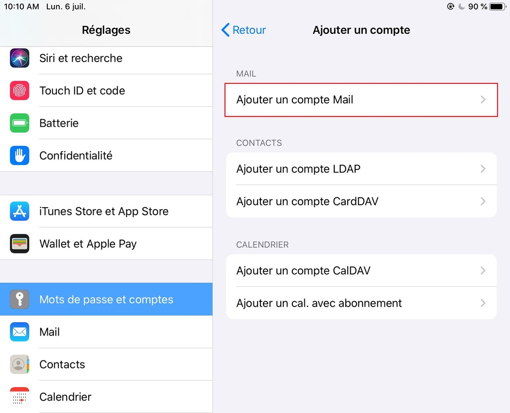 Ajouter un compte Mail dans la page des Réglages iOS