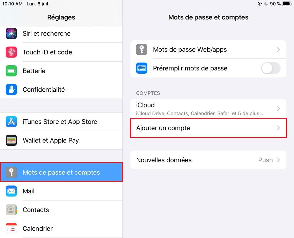 Ajouter un nouveau compte dans iOS