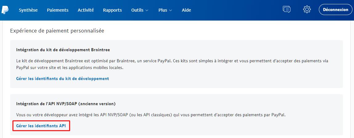 Section Intégration de l'API NVP/SOAP (ancienne version) sur PayPal.