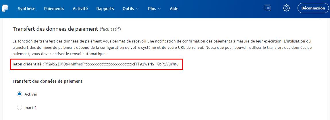 Activer le transfert des données de paiement et obtenir le jeton d'identité sur PayPal.