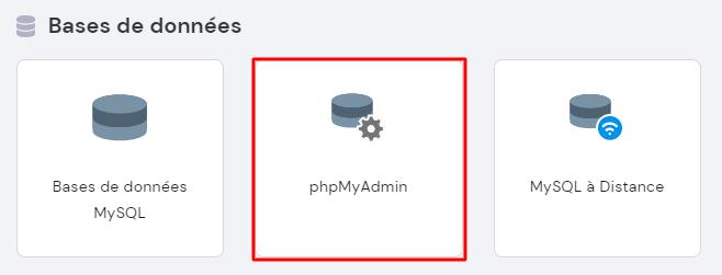 Section phpMyAdmin sur le Hpanel de Hostinger