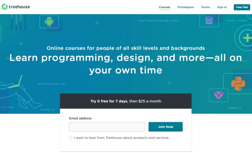 Site web de TeamTreeHouse qui propose des cours WordPress