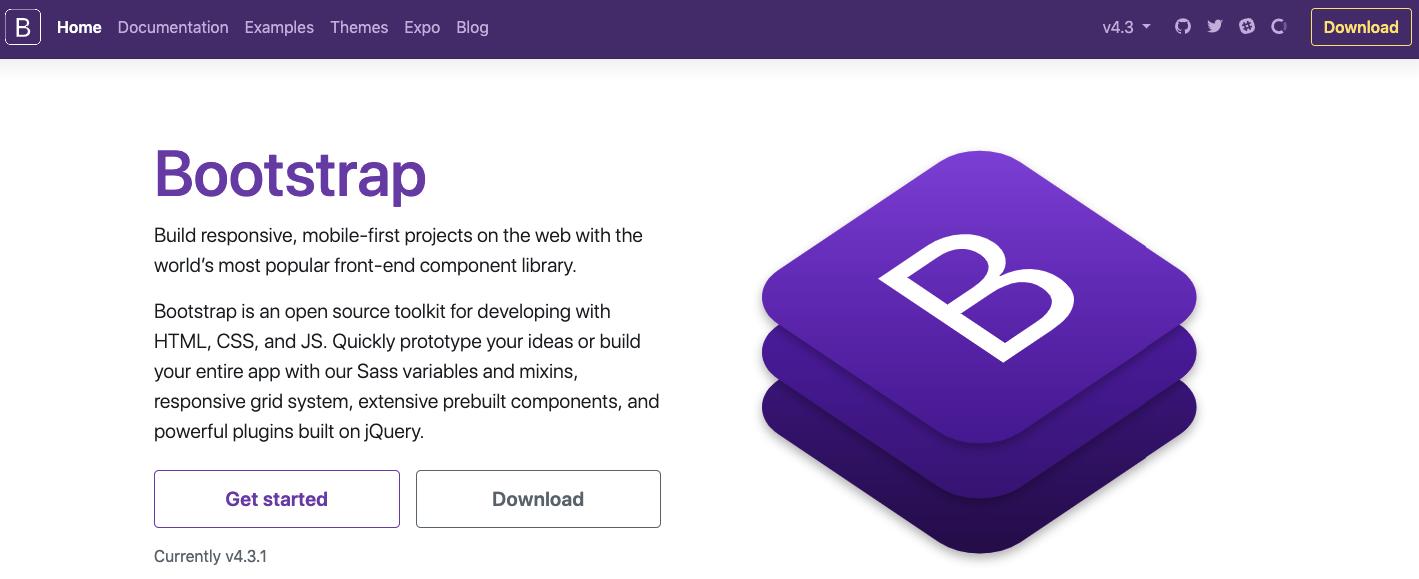 Page d'accueil de Bootstrap
