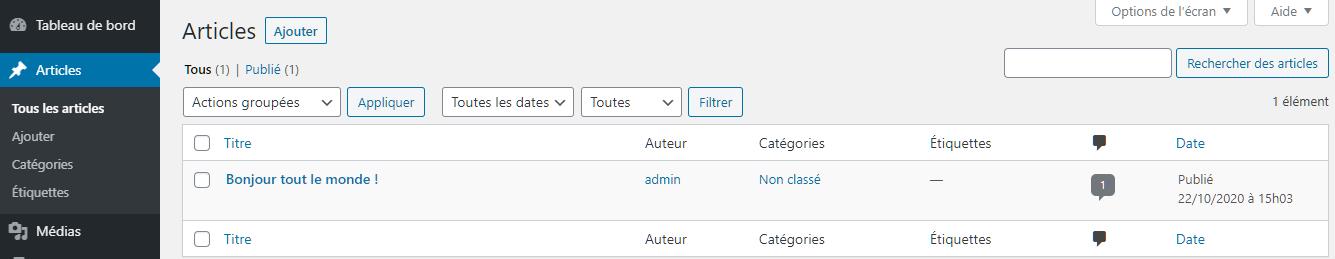Création et édition des articles dans le tableau de bord de WordPress