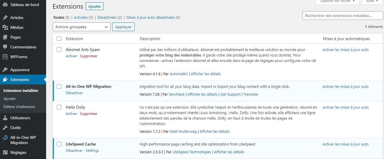 Vérification des extensions installées dans le tableau de bord de WordPress