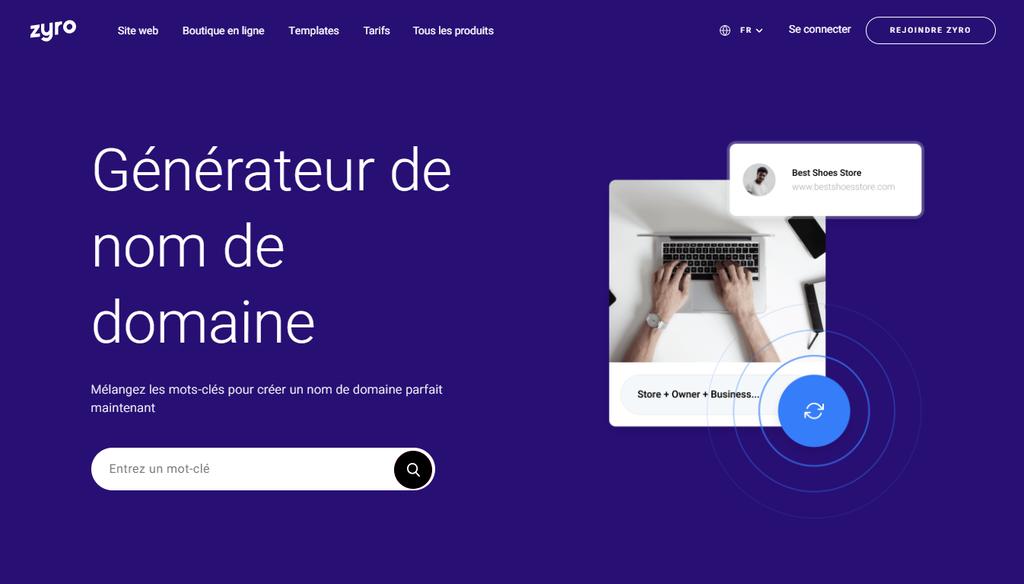 Page d'accueil du générateur de noms de domaine Zyro