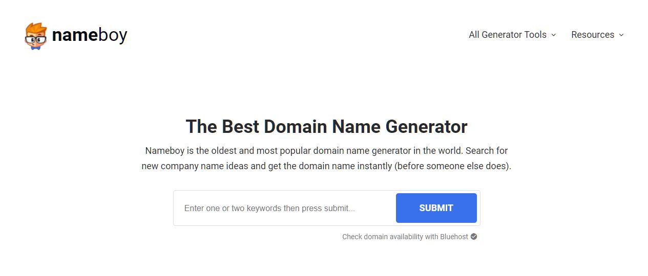 Name Boy parmi les meilleurs générateurs de noms de domaine.