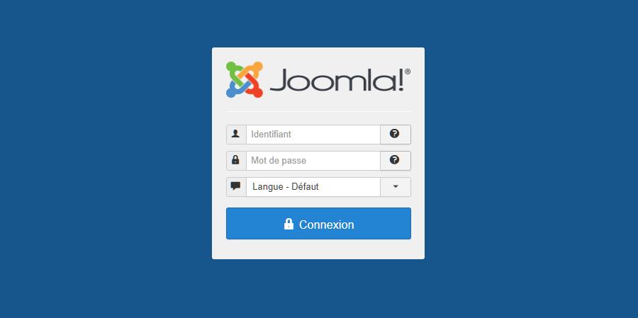 La page de connexion du tableau de bord Joomla