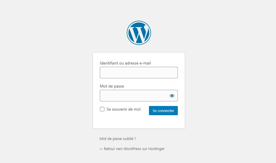 La page de connexion du tableau de bord WordPress