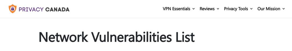 Liste des vulnérabilités du réseau de Privacy Canada