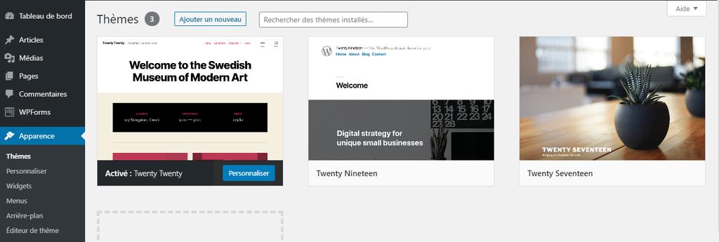 Section des thèmes dans WordPress pour créer un site internet