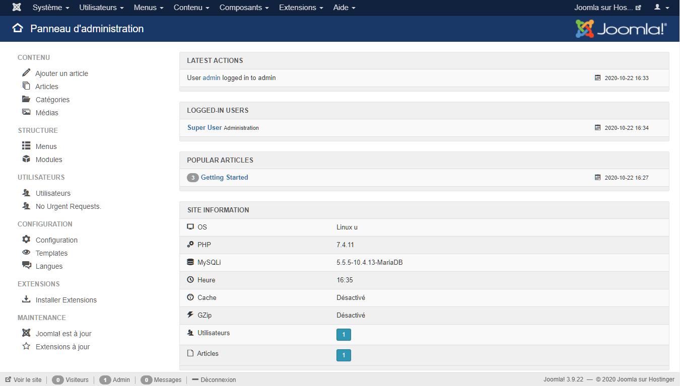 Exemple de ce à quoi ressemble le panneau de contrôle de Joomla
