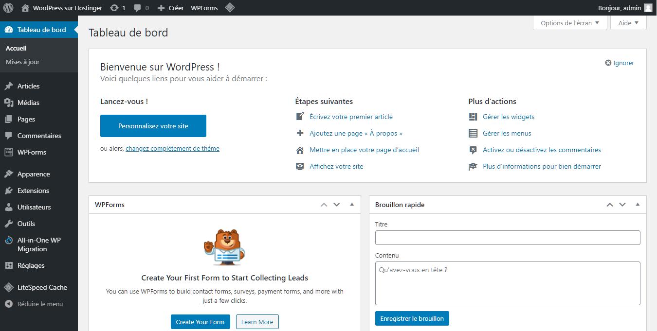 La vue principale du tableau de bord dans WordPress