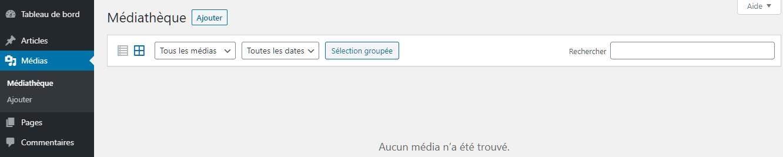 Téléchargement de nouveaux fichiers média via le tableau de bord WordPress