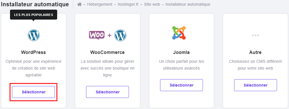 Installation du CMS WordPress avec l'installateur automatique de Hostinger