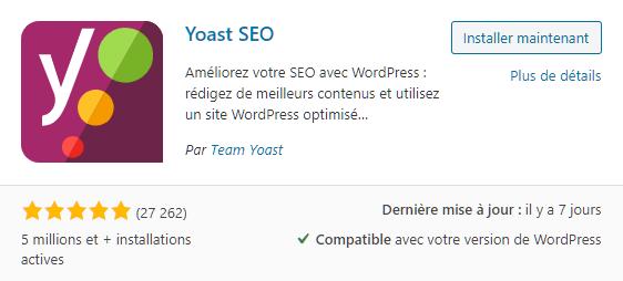 Plugin SEO Yoast pour aider à créer un site internet