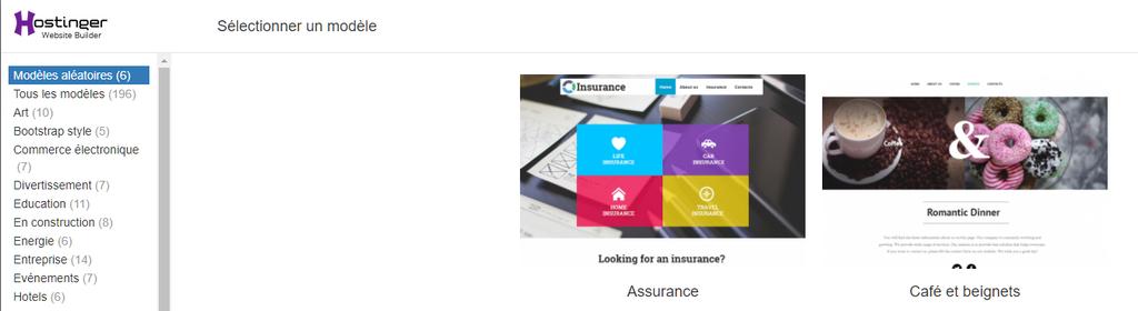 Choisir un template de site web lors de la création d'un site web