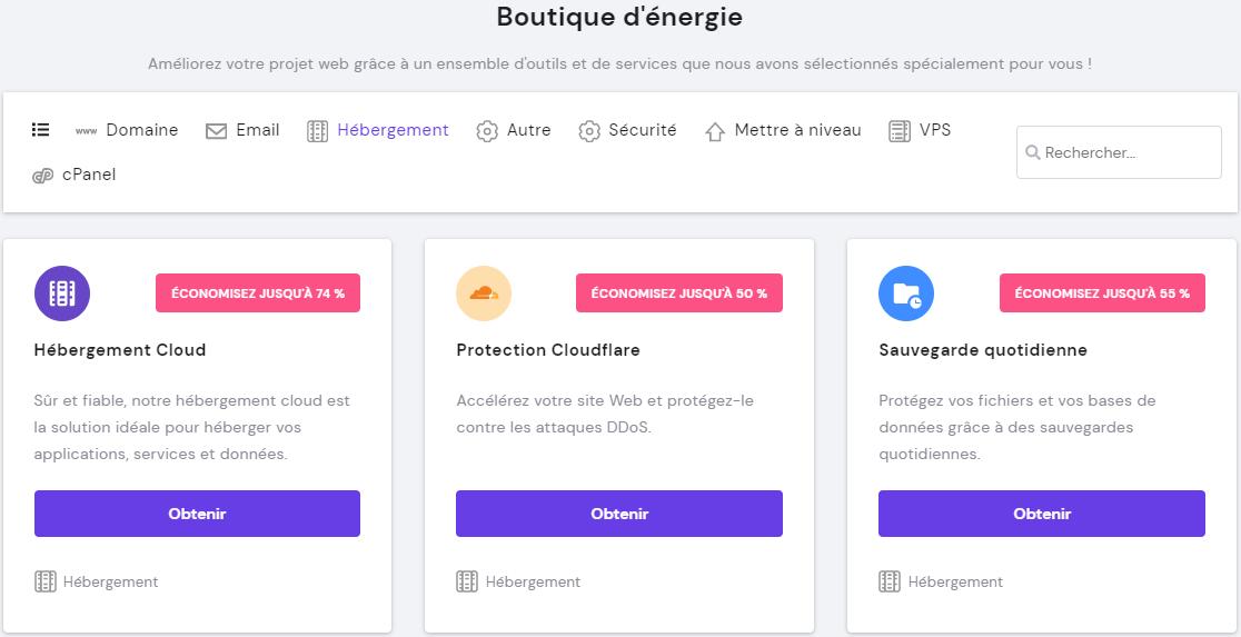 Module CloudFlare dans la boutique d'énergie Hostinger