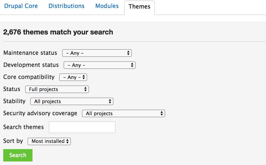 Choisir un design de site web dans le dépôt de thèmes officiel de Drupal