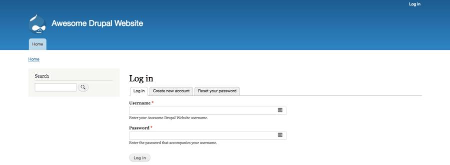 La page de connexion du back-end Drupal
