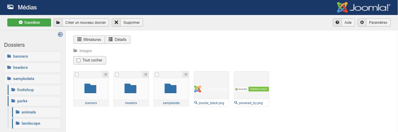 Télécharger et supprimer des fichiers médias dans Joomla
