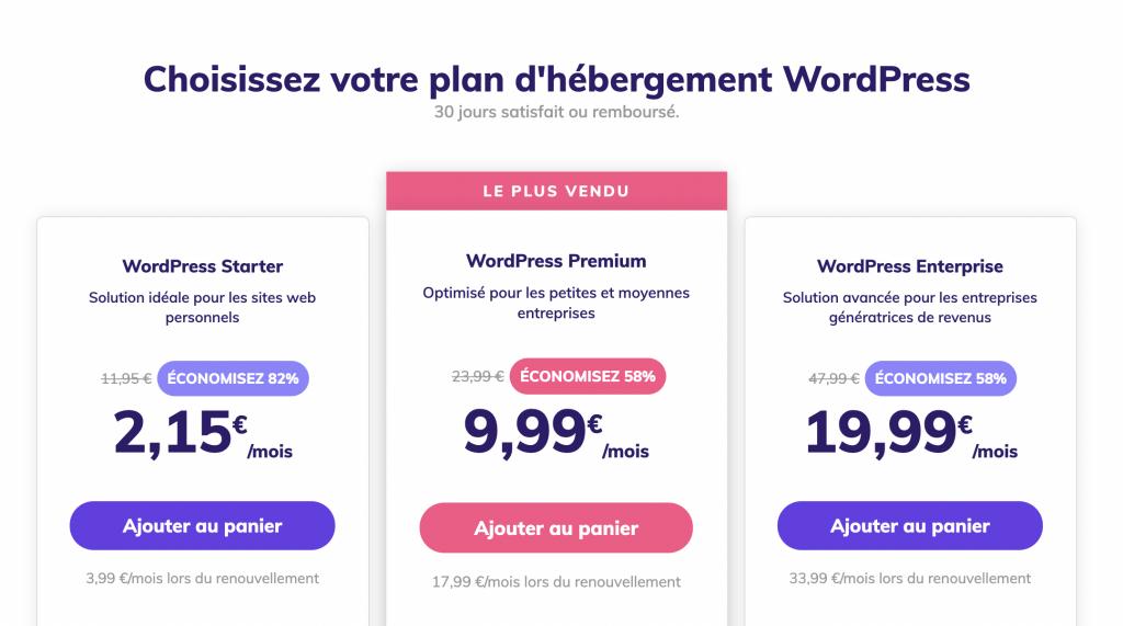 Plans d'hébergemnts WordPress de Hostinger